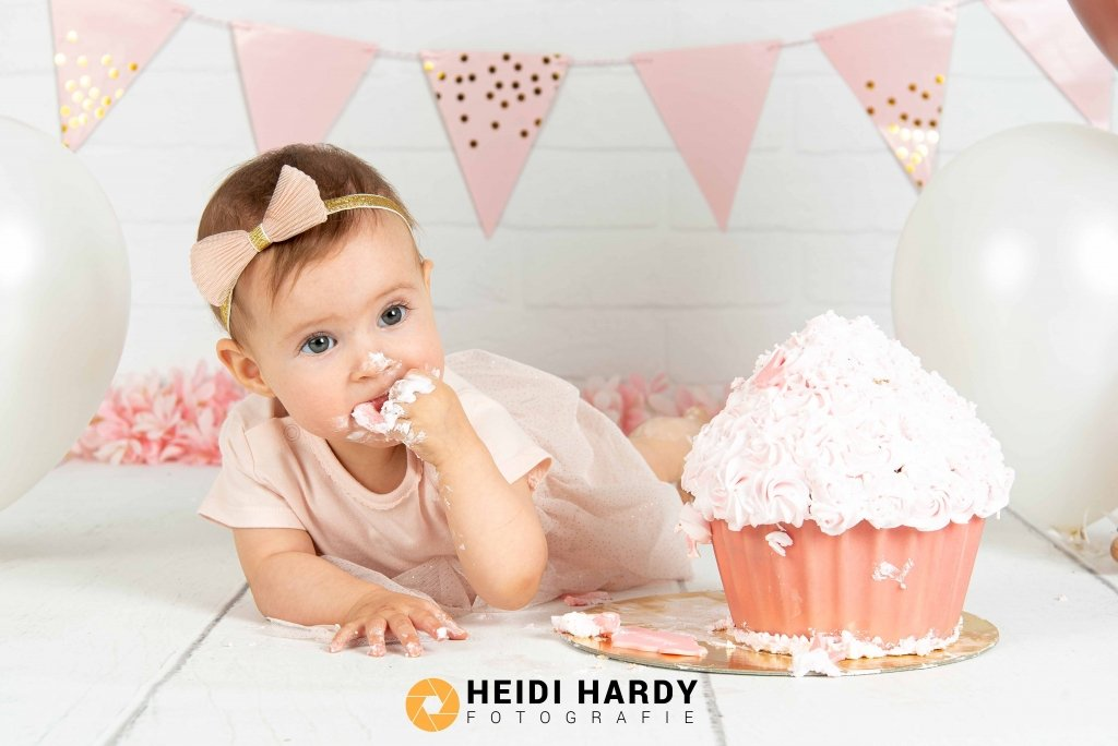 cake smash goud en roze - HardyPrints - Zonhoven