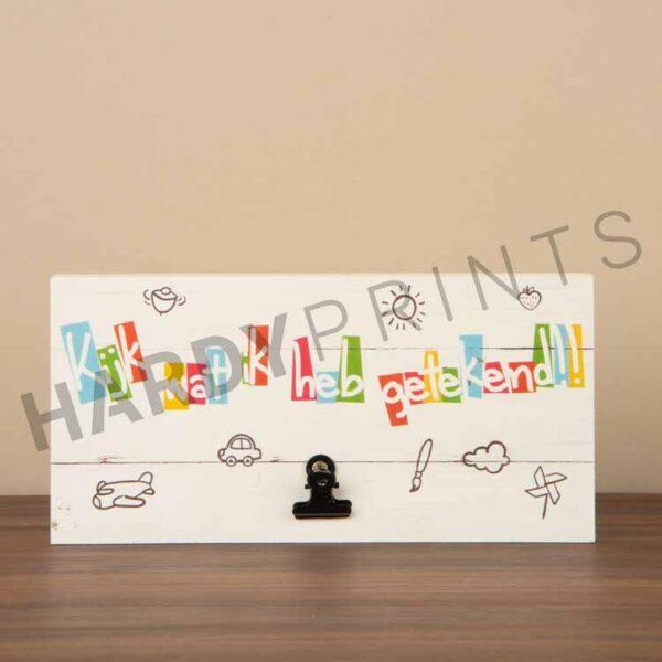 tekstblok Kinderkunstwerk hanger 'Kijk wat ik heb getekend'