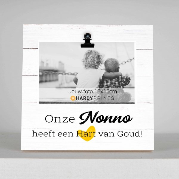 nonno heeft een hart van goud - fotokader - houten tekstplaatje