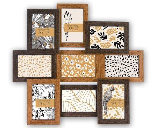 multi fotokader - decoratie - bruin hout
