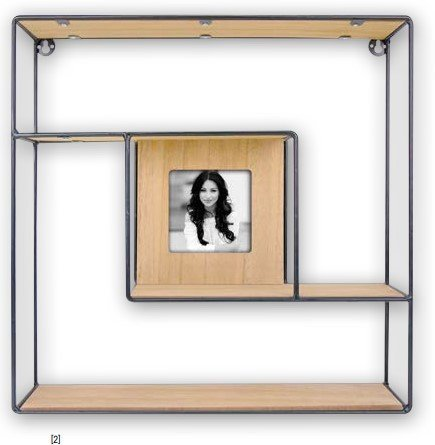 decoratie - zwart ijzeren rekje met fotokader voor foto 10x10
