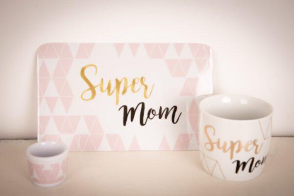 """eetset """"super Mom' of 'super mama' een geschenk voor mama"""